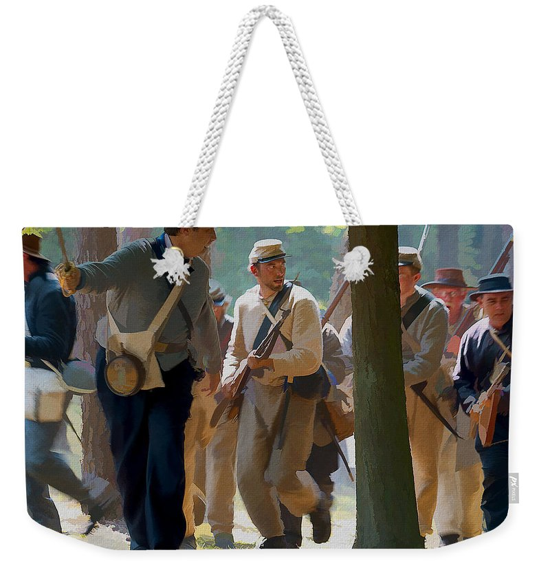 Ron Jones Weekender Tote Bag featuring the photograph Rebel Charge by Ron Jones