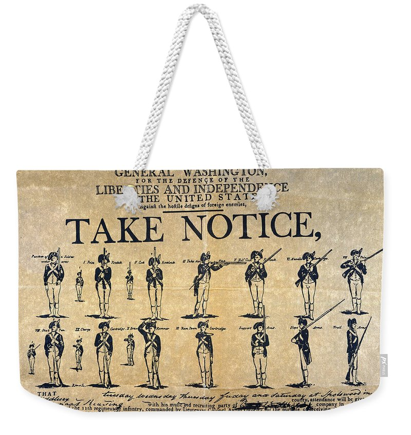 1798 Weekender Tote Bag featuring the photograph Recruiting Broadside, C1798 by Granger