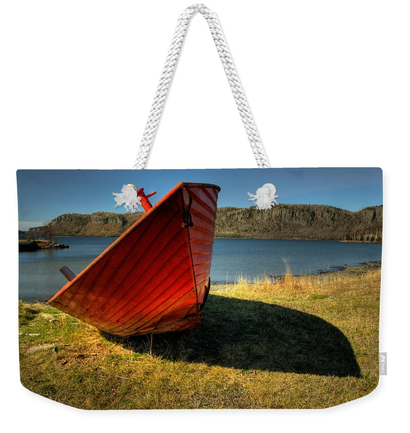 Red Boat Weekender Tote Bag featuring the photograph Red Boat by Jakub Sisak