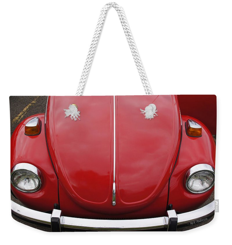 Red Weekender Tote Bag featuring the photograph Red Bug by Mick Anderson