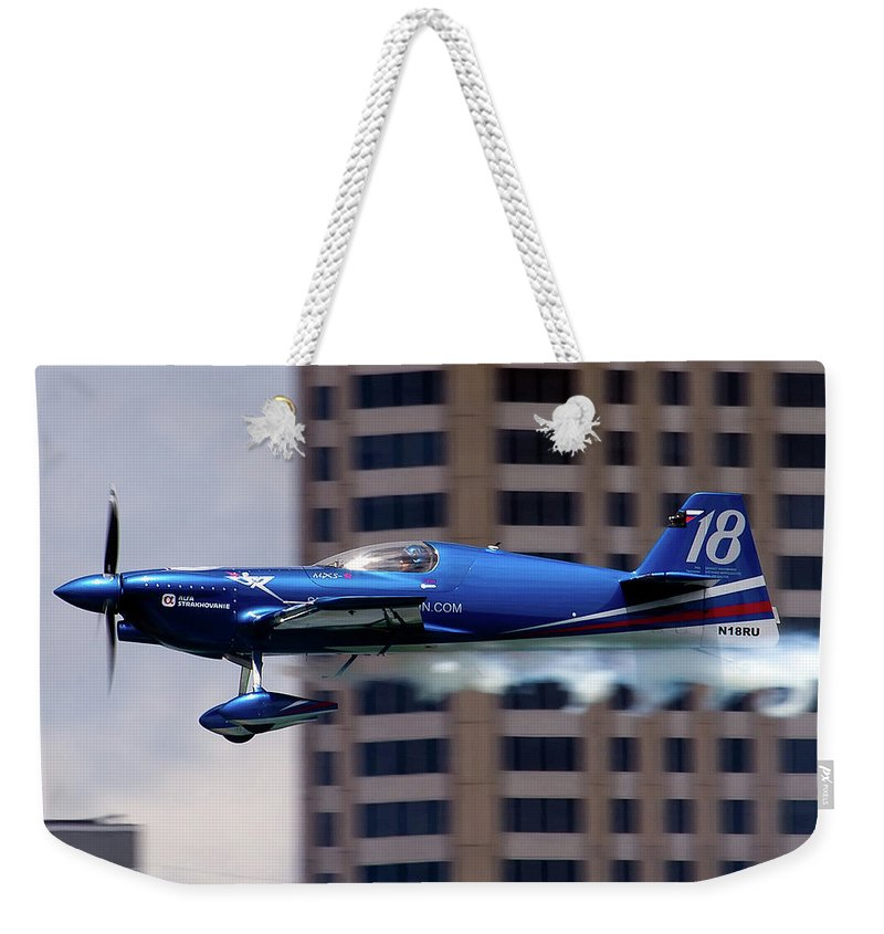 Airshows Weekender Tote Bag featuring the photograph Red Bull Racer by Bill Lindsay