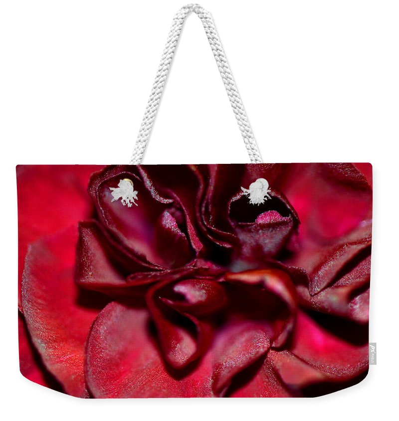 Carnation Weekender Tote Bag featuring the photograph Red Carnation With Heart by Sandi OReilly