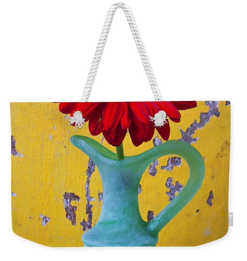 Red Weekender Tote Bag featuring the photograph Red Daisy In Grape Vase by Garry Gay