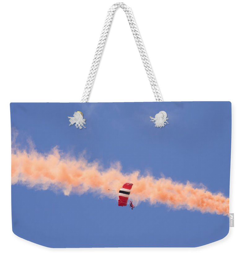 Parachute Weekender Tote Bag featuring the photograph Red Devils Free Fall Parachute Team by Ian Middleton