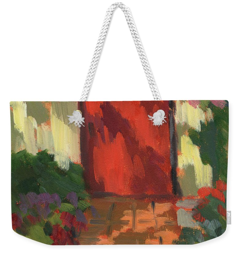 Red Door Weekender Tote Bag featuring the painting Red Door - Shadow And Light by Diane McClary