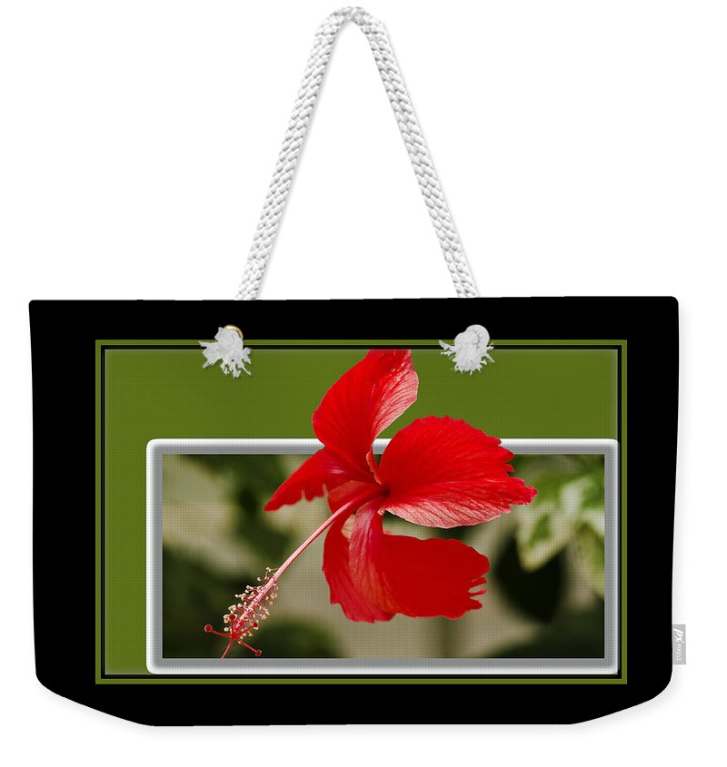 Flower Weekender Tote Bag featuring the photograph Red Flower by Larry White