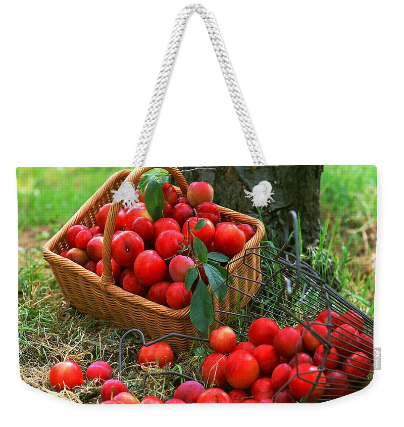 Agriculture Weekender Tote Bag featuring the photograph Red Fresh Plums In The Basket by Jeelan Clark