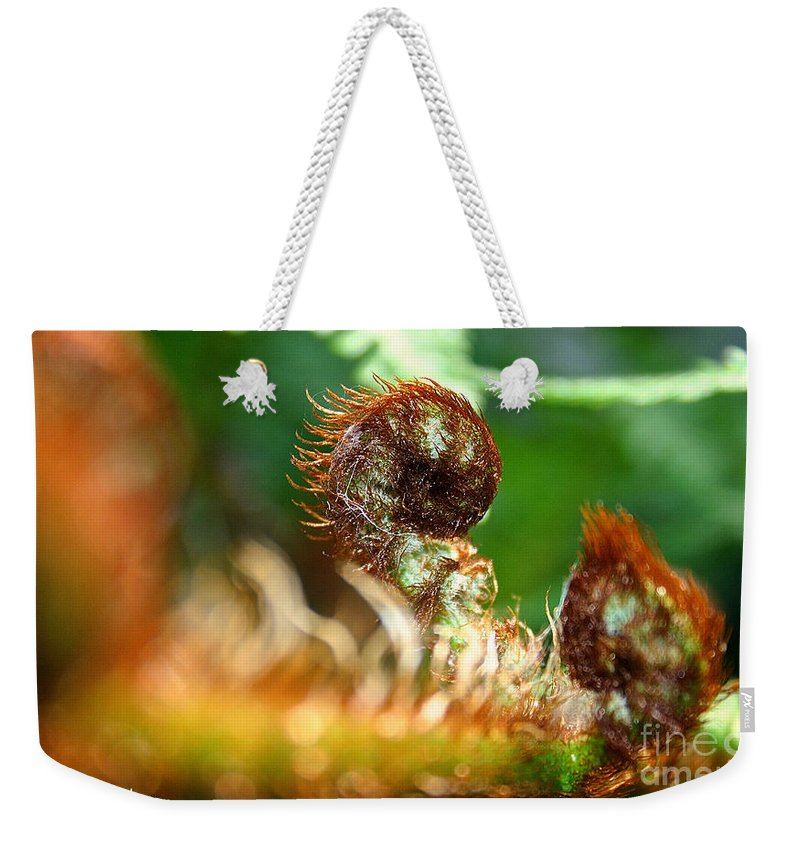 Plant Weekender Tote Bag featuring the photograph Red Heads by Susan Herber