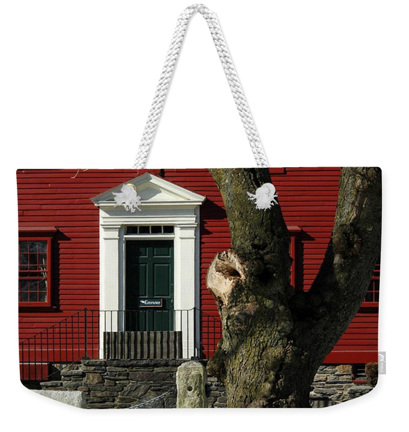 Red Weekender Tote Bag featuring the photograph Red House And Snow by Mike Nellums