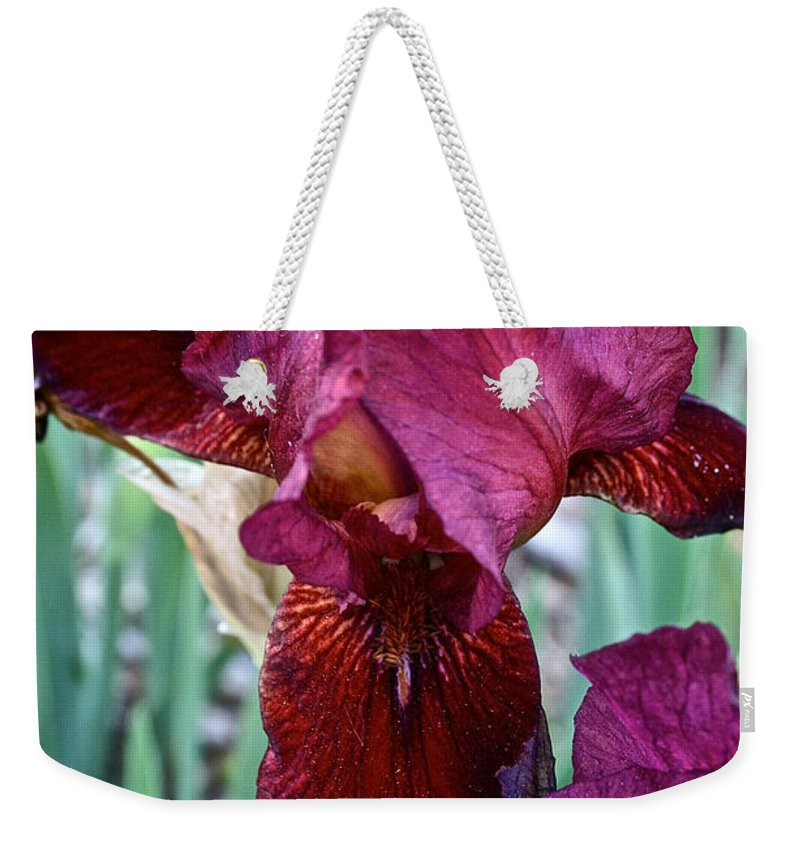 Plant Weekender Tote Bag featuring the photograph Red Iris Duo by Susan Herber