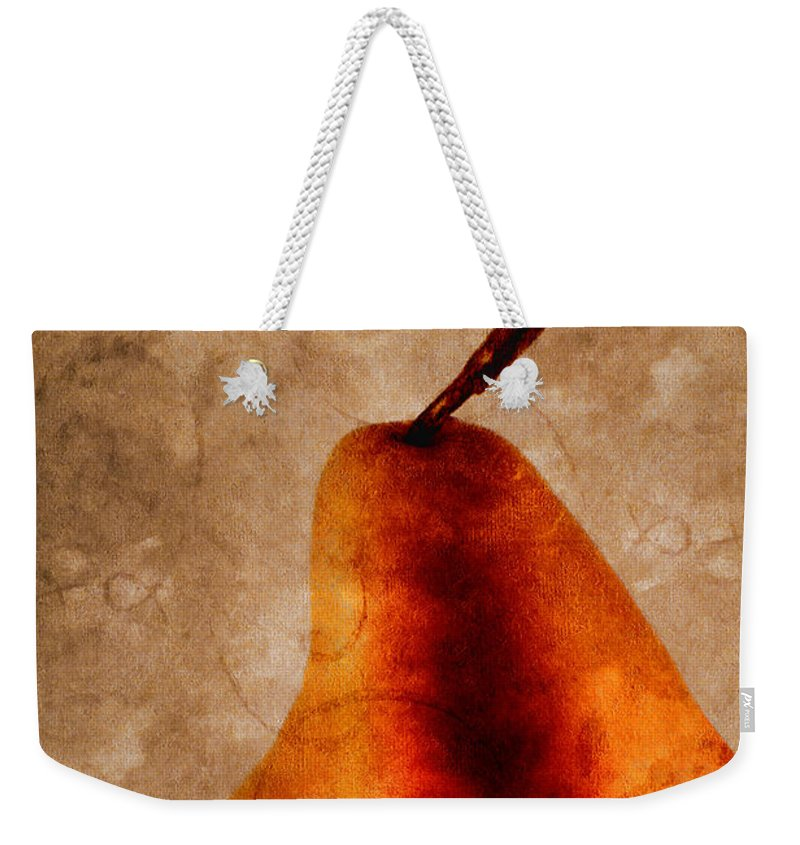Pear Weekender Tote Bag featuring the photograph Red Pear I by Carol Leigh