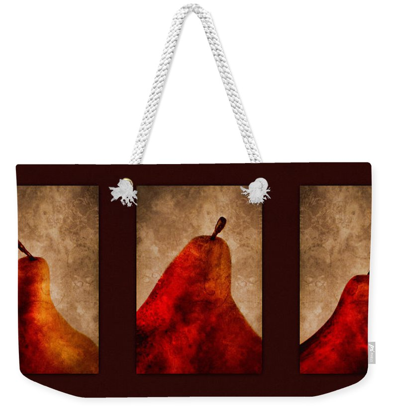 Pear Weekender Tote Bag featuring the photograph Red Pear Triptych by Carol Leigh