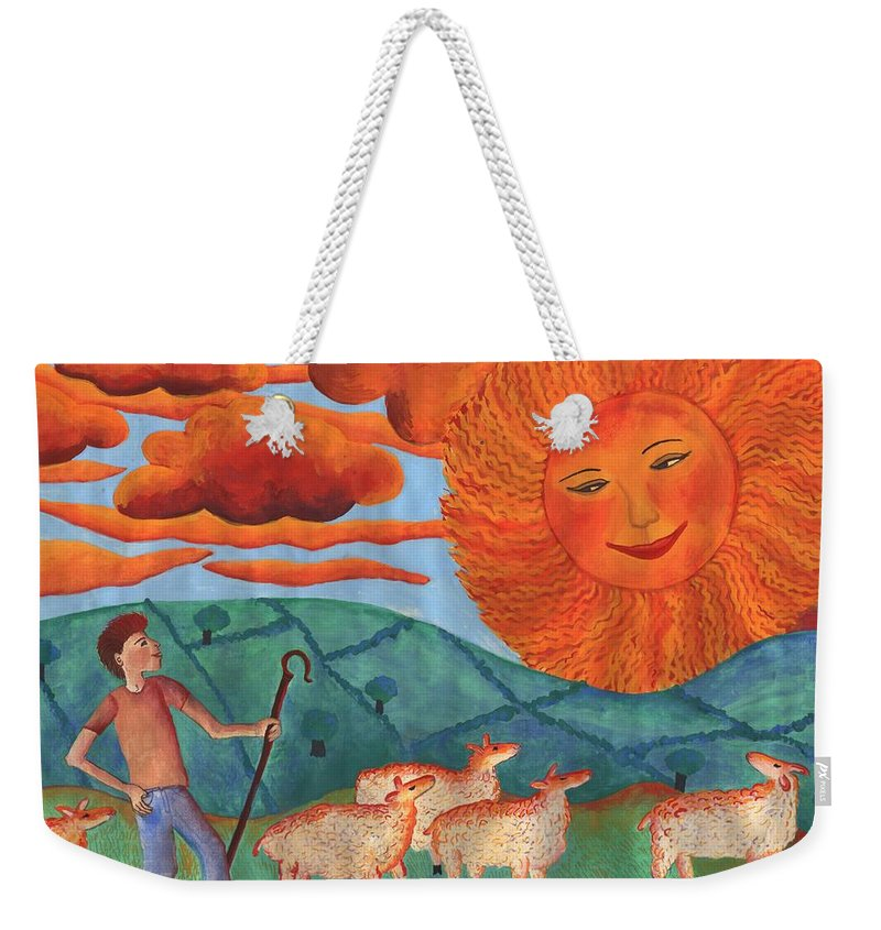 Sun Weekender Tote Bag featuring the painting Red Sky At Night by Sushila Burgess