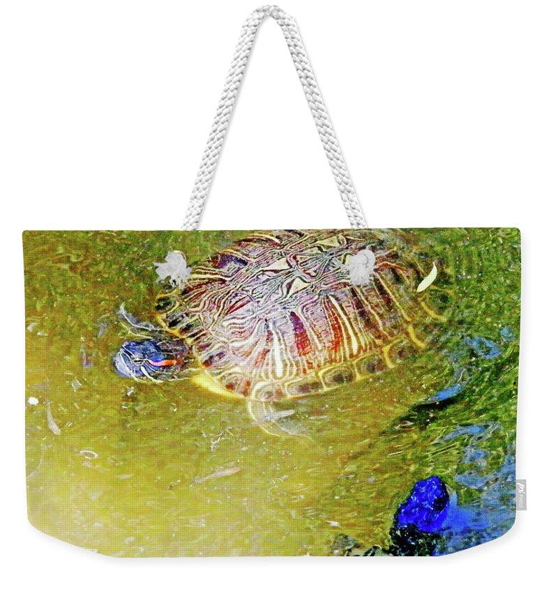 Turtles Weekender Tote Bag featuring the digital art Red Sliders by Lizi Beard-Ward