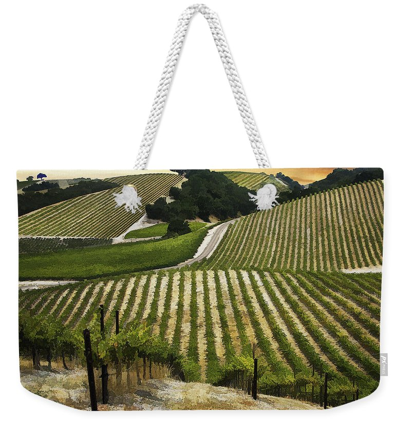 Landscape Weekender Tote Bag featuring the digital art Red Soles Vineyard by Sharon Foster