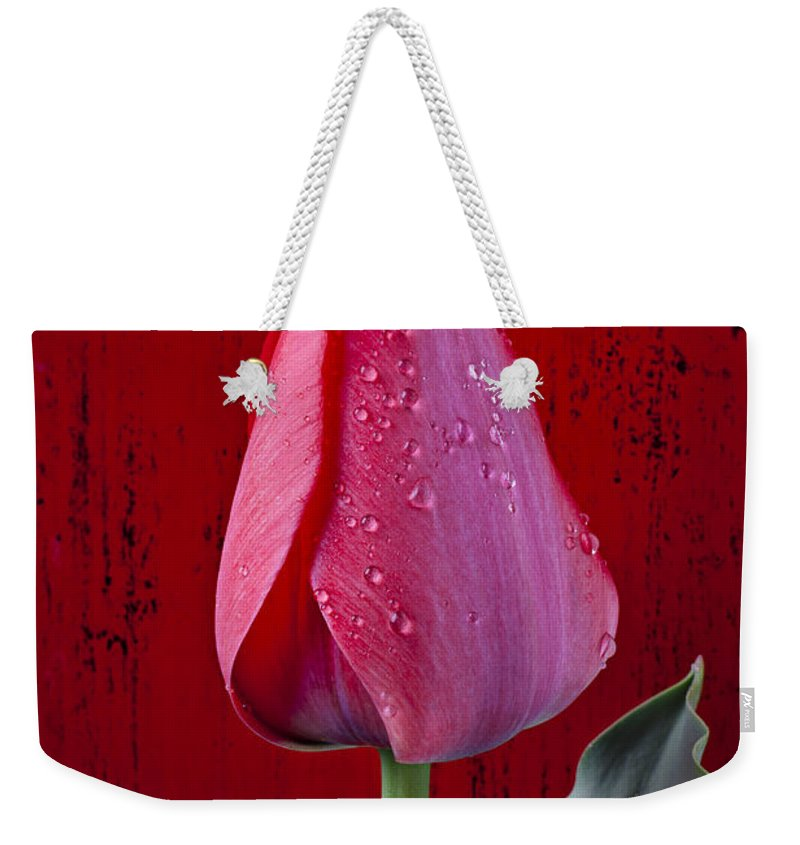 Red Weekender Tote Bag featuring the photograph Red Tulip With Dew by Garry Gay