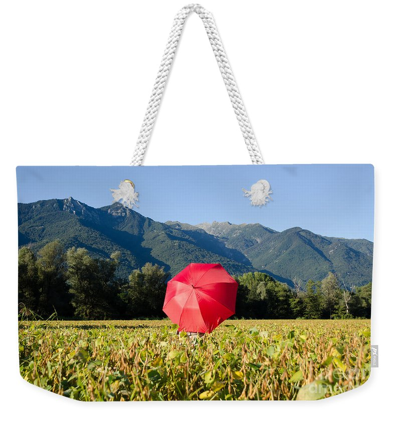 Red Weekender Tote Bag featuring the photograph Red Umbrella On The Field by Mats Silvan