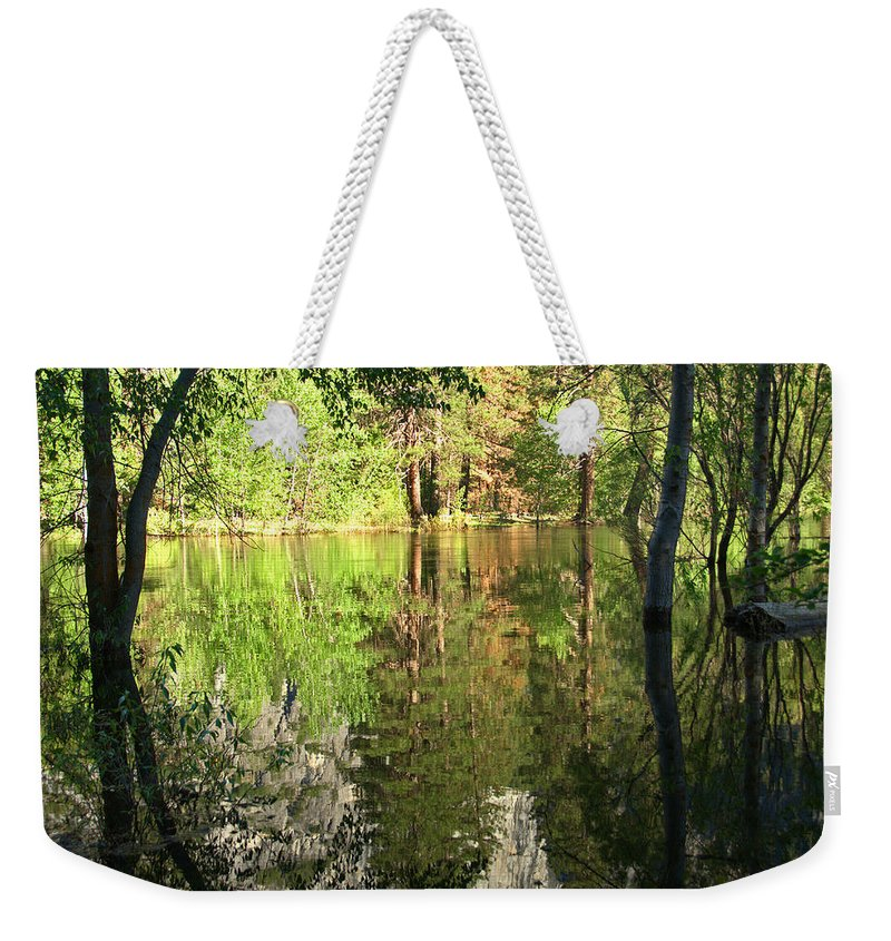 Reflections Weekender Tote Bag featuring the photograph Reflections In The Merced by Lynn Bauer