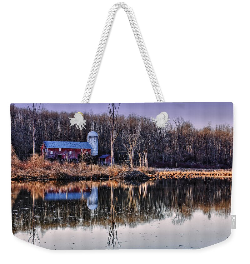 Walpack Weekender Tote Bag featuring the photograph Reflections Of The Old Barn by Rick Berk