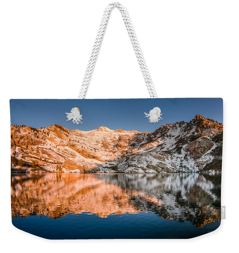 Great Basin Weekender Tote Bag featuring the photograph Reflections On Angel Lake by Greg Nyquist
