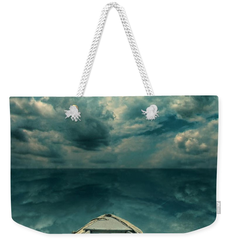 Boat Weekender Tote Bag featuring the photograph Reflections On The Sea by Jill Battaglia