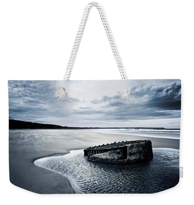 Bay Weekender Tote Bag featuring the photograph Reighton Sands Beach by Svetlana Sewell