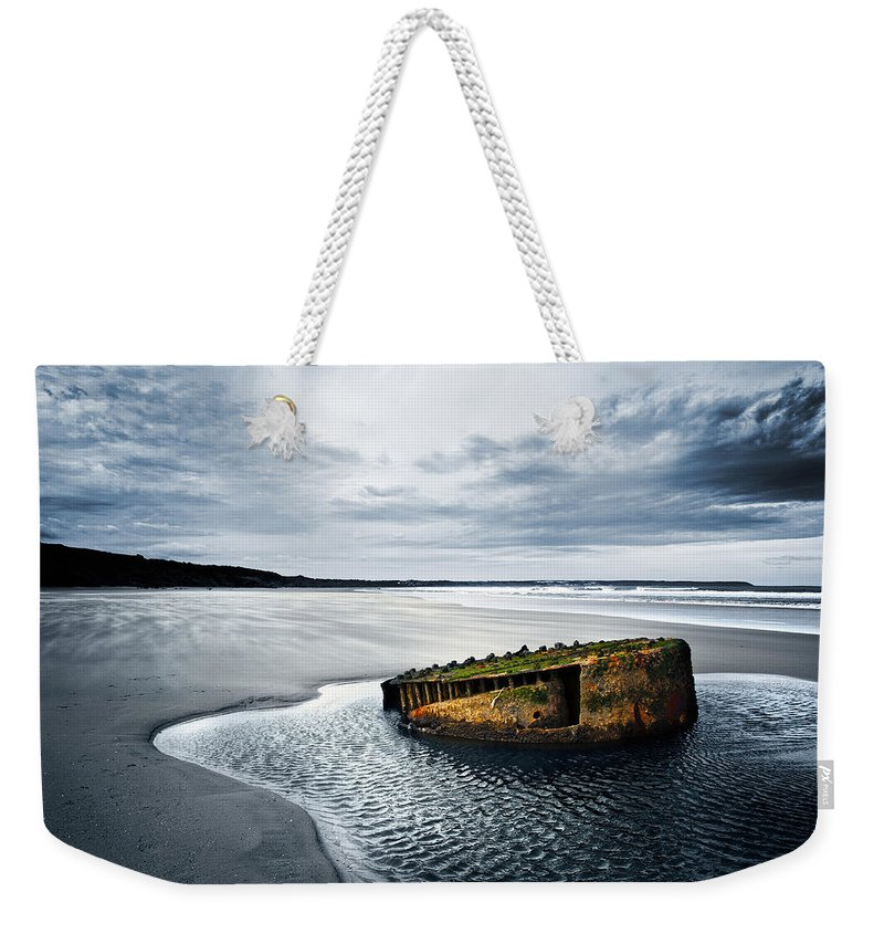 Bay Weekender Tote Bag featuring the photograph Reighton Sands Coast by Svetlana Sewell