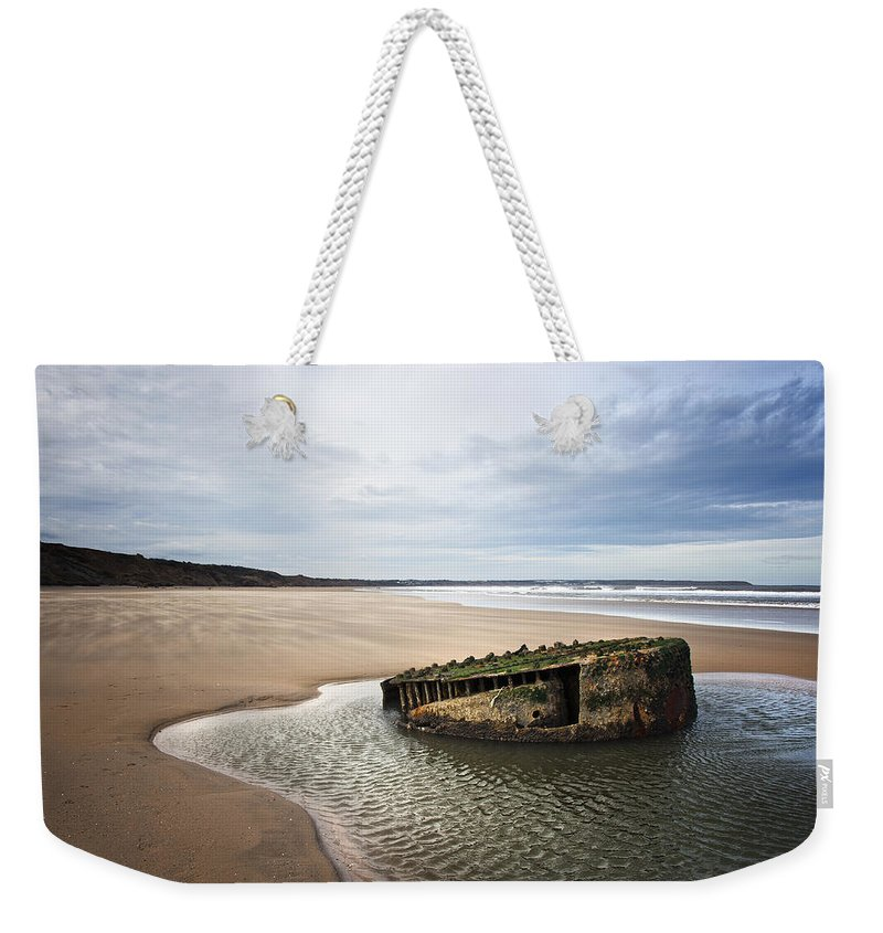 Bay Weekender Tote Bag featuring the photograph Reighton Sands Shore by Svetlana Sewell