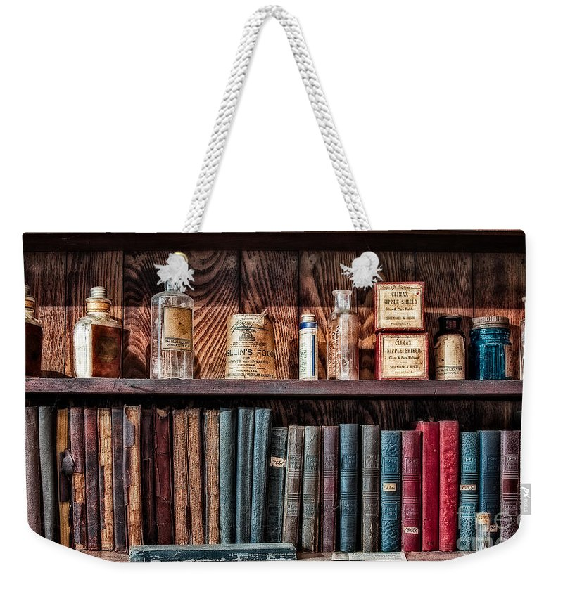 Pharmacy Weekender Tote Bag featuring the photograph Remedies And Visiting List by Susan Candelario