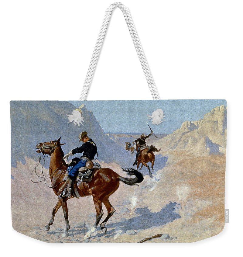 19th Century Weekender Tote Bag featuring the photograph Remington: Guard, 1890 by Granger