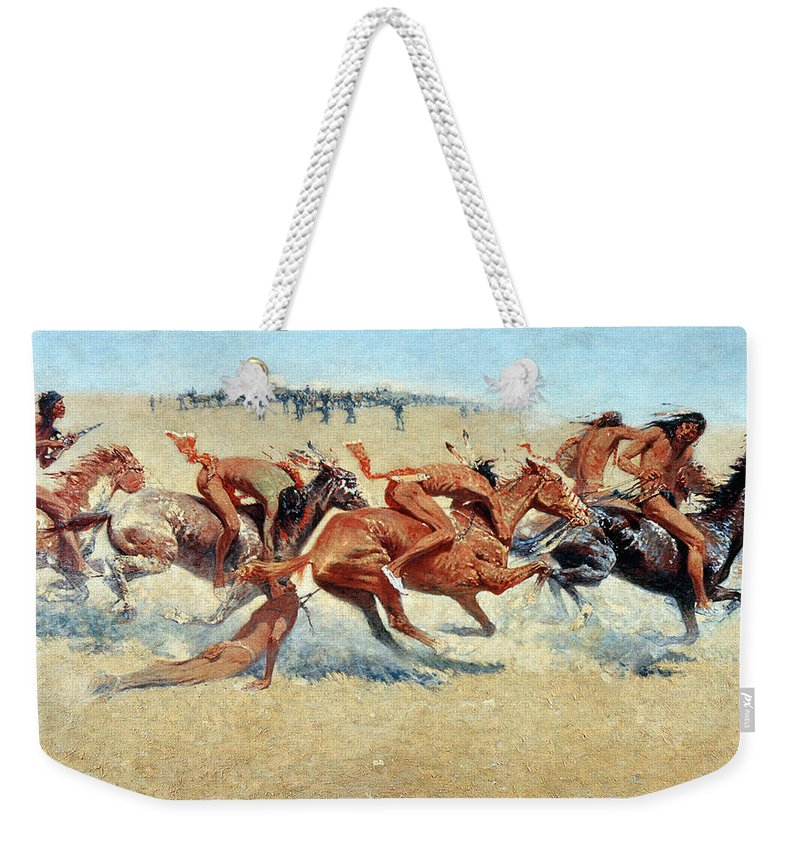 1908 Weekender Tote Bag featuring the photograph Remington: Indian Warfare by Granger