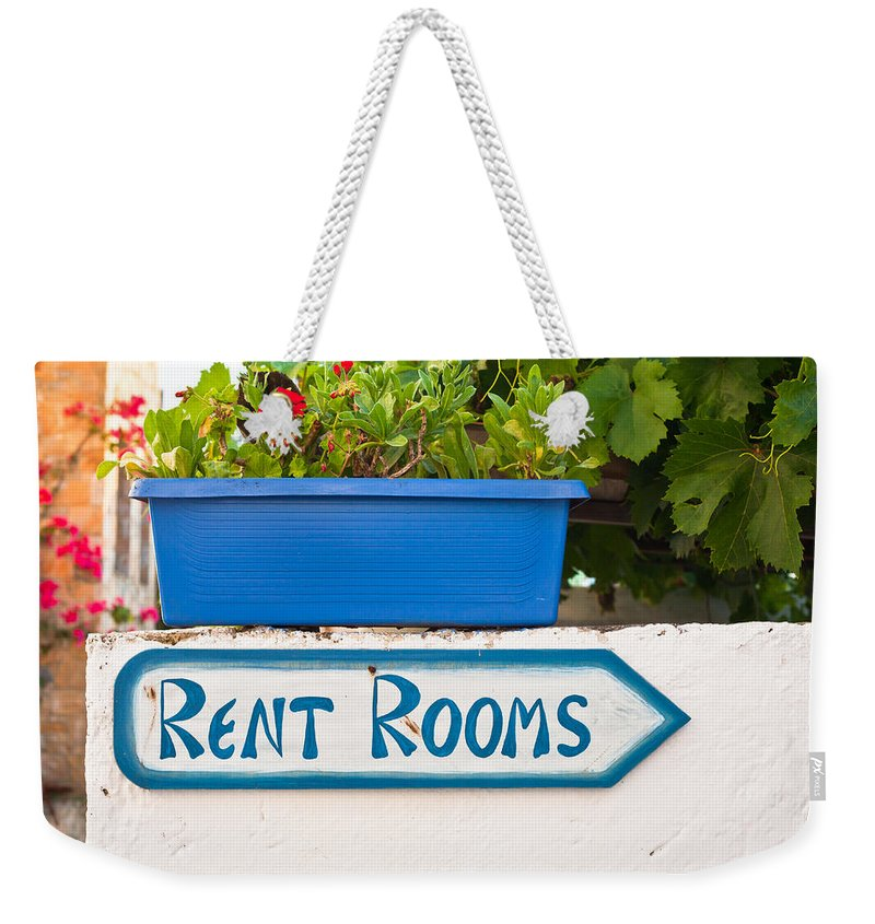 Accomodation Weekender Tote Bag featuring the photograph Rent Rooms Sign by Tom Gowanlock