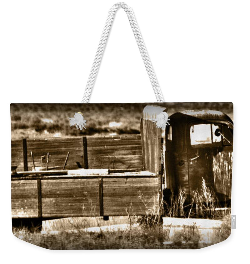 Old Weekender Tote Bag featuring the photograph Retired Truck by Shane Bechler