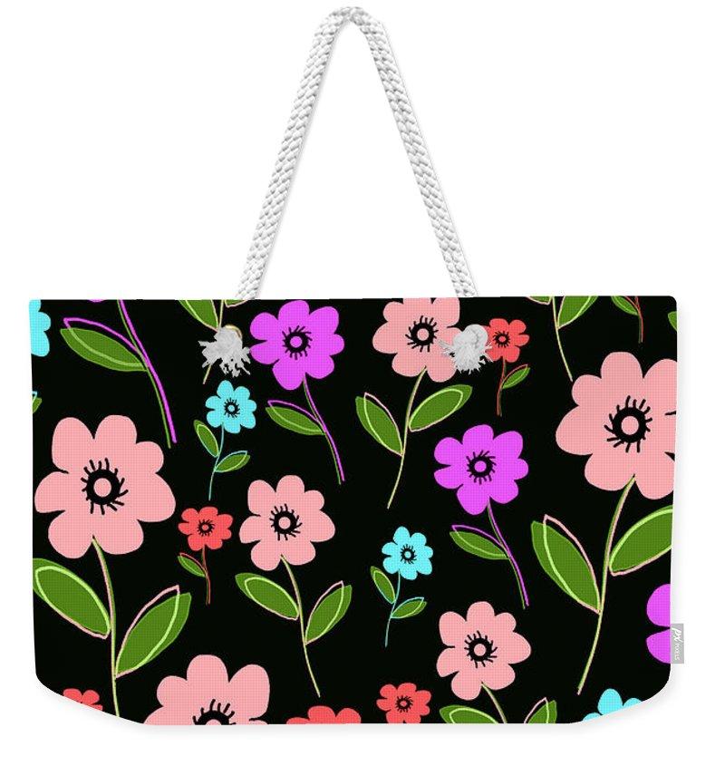 Louisa Weekender Tote Bag featuring the digital art Retro Florals by Louisa Knight