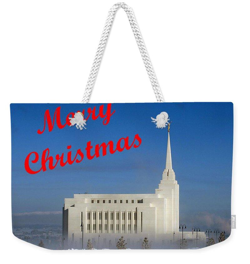 Christmas Cards Weekender Tote Bag featuring the photograph Rexburg Temple Christmas by DeeLon Merritt