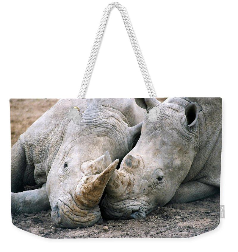 Rhino Weekender Tote Bag featuring the photograph Rhino Love by CJ Clark