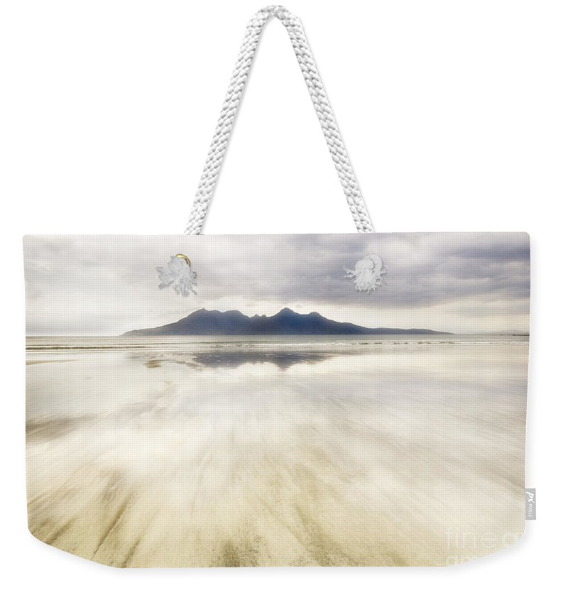 Eigg Weekender Tote Bag featuring the photograph Rhum From Laig Bay by Janet Burdon
