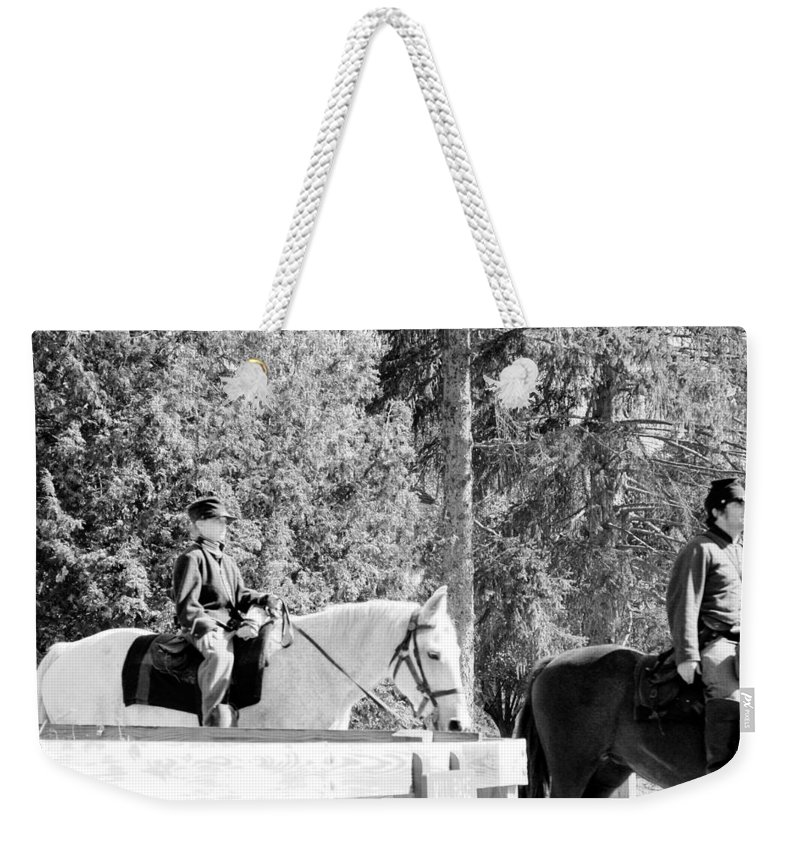 Usa Weekender Tote Bag featuring the photograph Riding Soldiers B And W IIi by LeeAnn McLaneGoetz McLaneGoetzStudioLLCcom