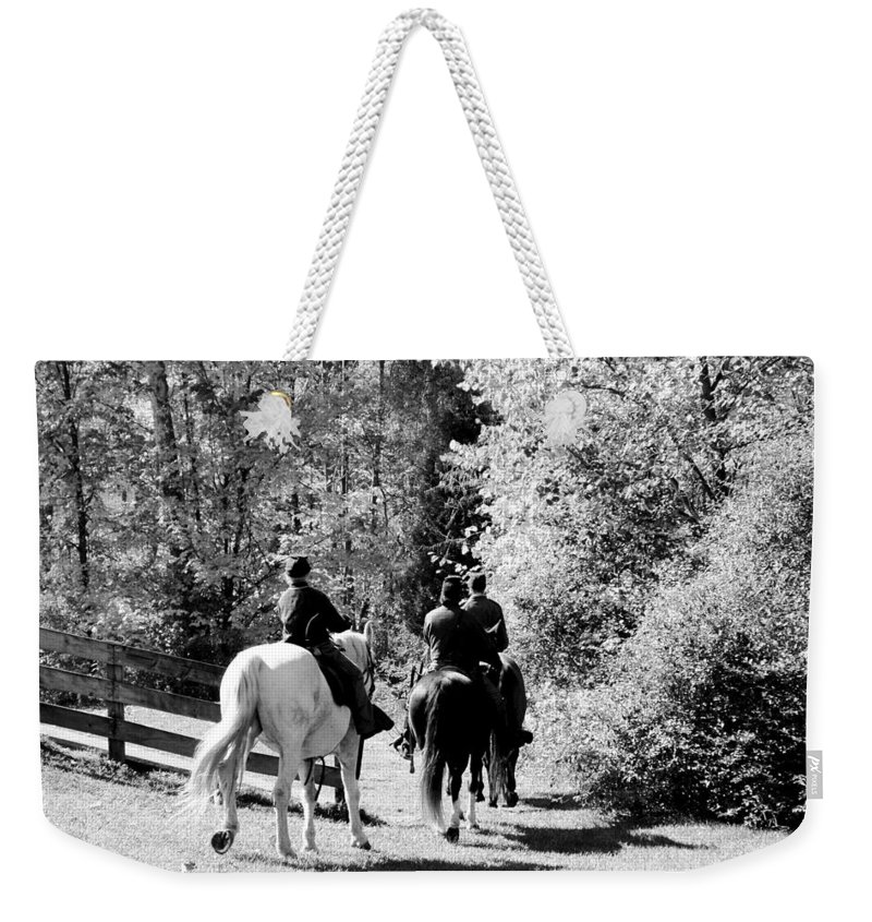 Usa Weekender Tote Bag featuring the photograph Riding Soldiers B And W by LeeAnn McLaneGoetz McLaneGoetzStudioLLCcom