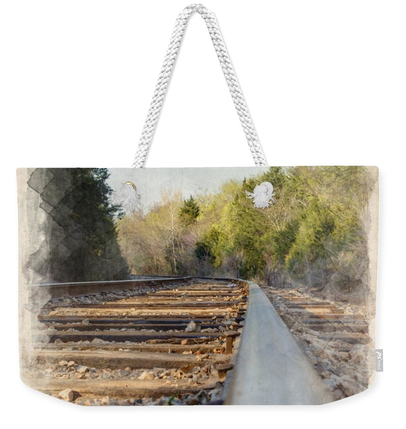 Angle Weekender Tote Bag featuring the photograph Riding The Rail II by Ricky Barnard