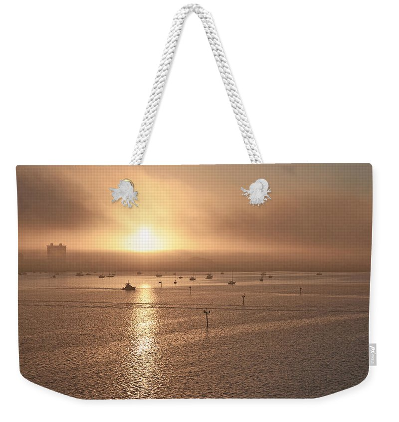 Ringling Weekender Tote Bag featuring the photograph Ringling Bridge Morning by Betsy Knapp