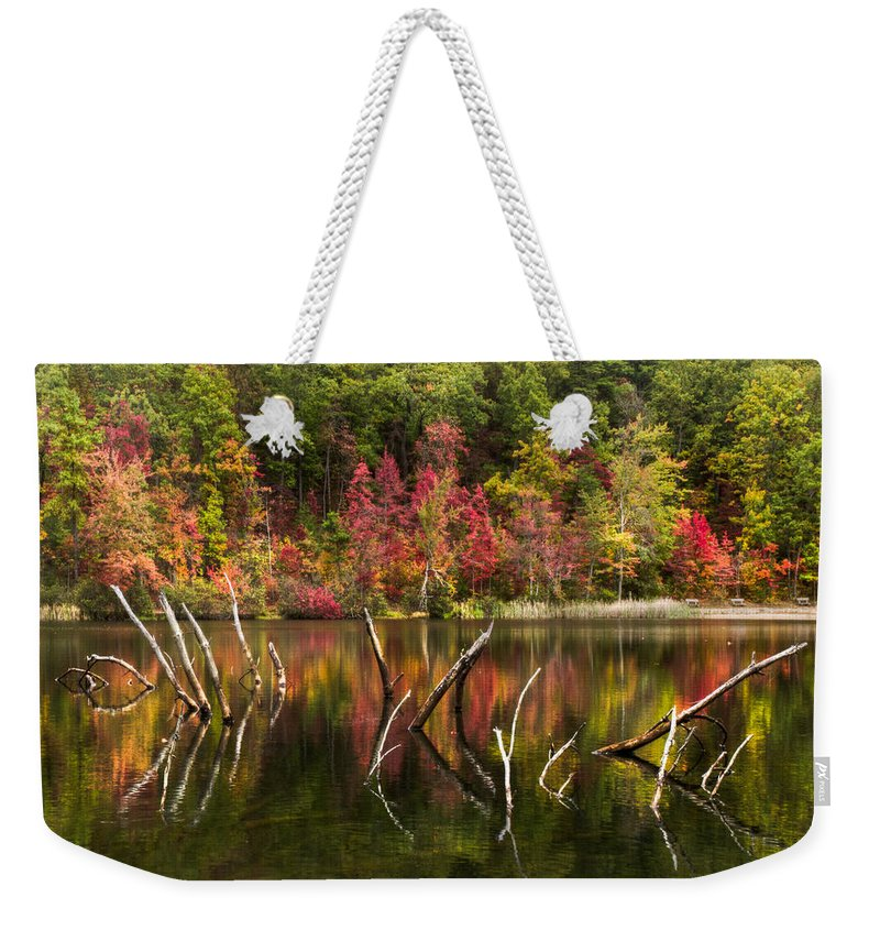 Appalachia Weekender Tote Bag featuring the photograph River Ghosts by Debra and Dave Vanderlaan