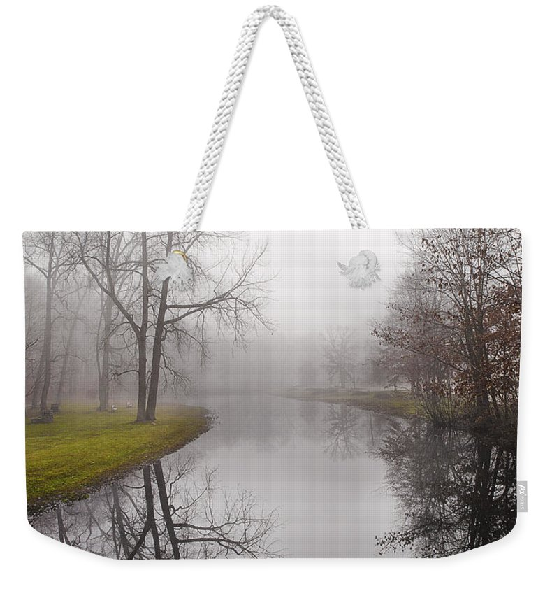 River Weekender Tote Bag featuring the photograph River In The Fog by Fran Gallogly