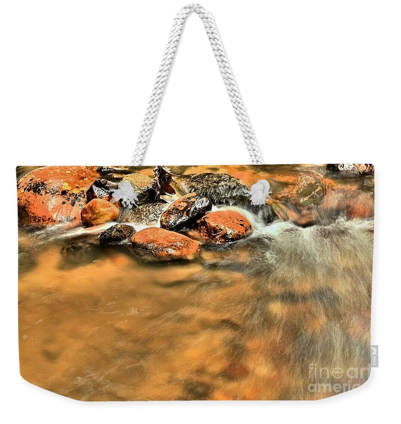 Stone Mountain State Park Weekender Tote Bag featuring the photograph River Rock Swirl by Adam Jewell