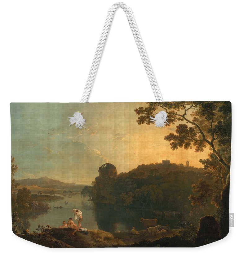 Landscape Weekender Tote Bag featuring the painting River Scene- Bathers And Cattle by Richard Wilson