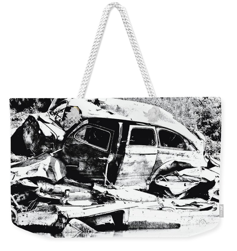 Junk Car Weekender Tote Bag featuring the digital art River Wreck Ver3 by Susan Kinney