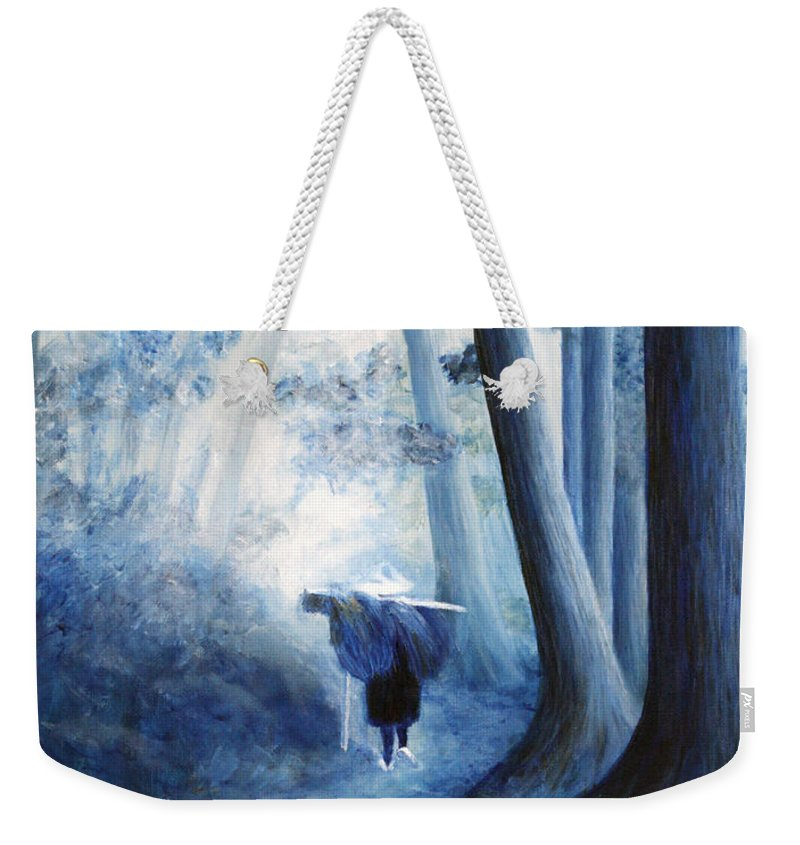 Trees Weekender Tote Bag featuring the painting Road Home by Donna Walsh