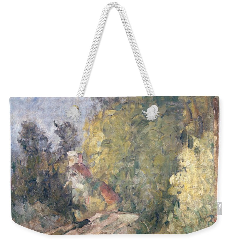 Road Weekender Tote Bag featuring the painting Road Turning Under Trees by Paul Cezanne