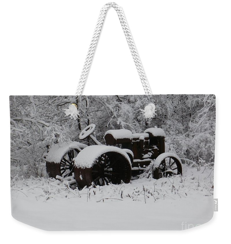 New York Weekender Tote Bag featuring the photograph Robed In White by Christian Mattison