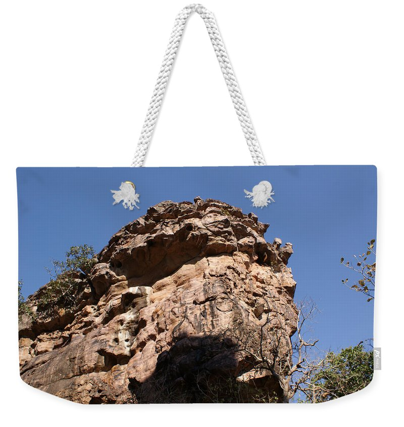 Rock Weekender Tote Bag featuring the photograph Rock Formations Bhimbhetka by Ashish Agarwal